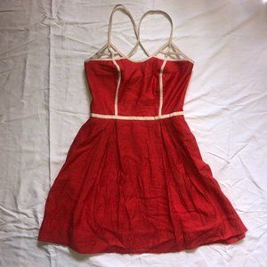 Jessica Simpson Coral Red Dress With Suede Trim